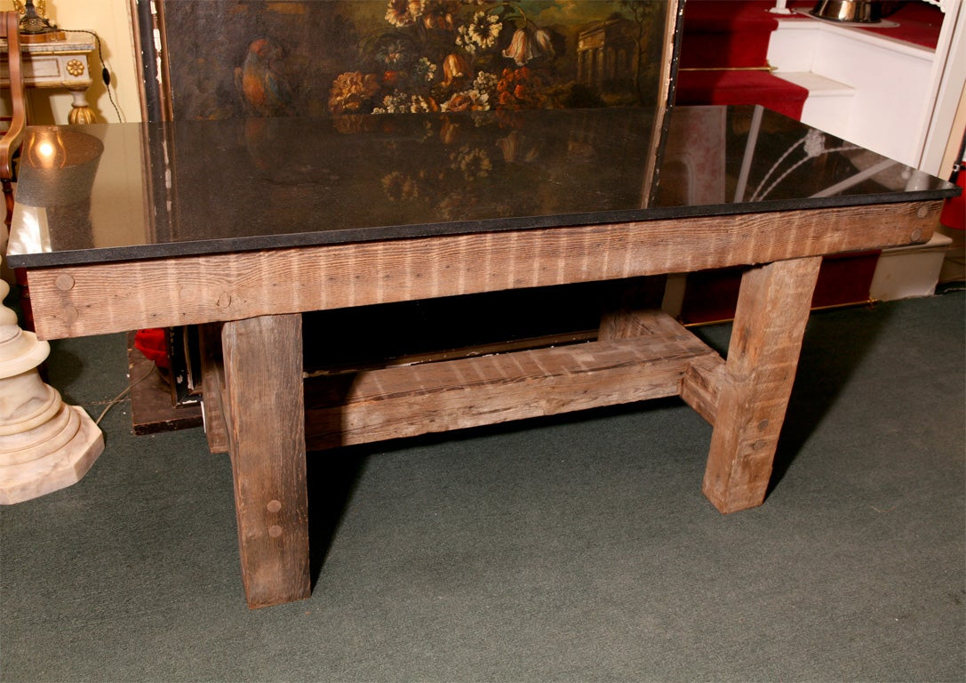 GRANITE TOP TABLE RUSTIC DINING TABLE At 1stdibs