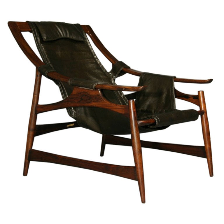 Sloped Rosewood And Leather Arm Chair At 1stdibs