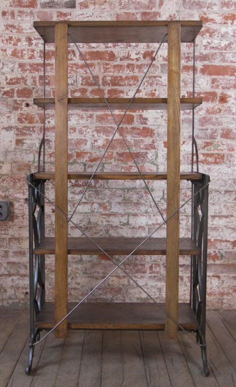 Vintage Adjustable Cast Iron And Wood Display Bakers Rack At 1stdibs
