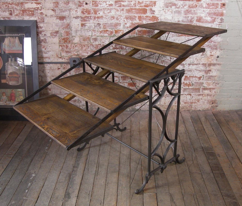 Vintage Adjustable Cast Iron And Wood Display Bakers