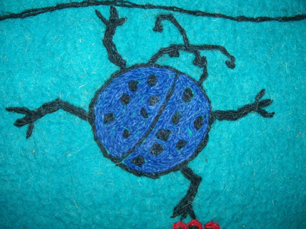 Kashmir Whimsical Lambs Wool Embroidered TapestryCarpet