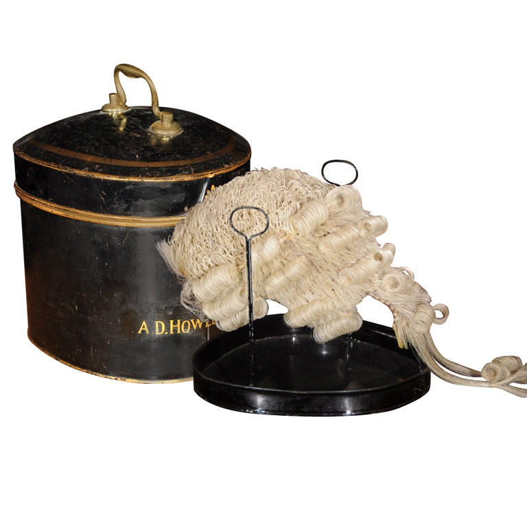 An English Barristers Wig In Tole Box With Riser At 1stdibs