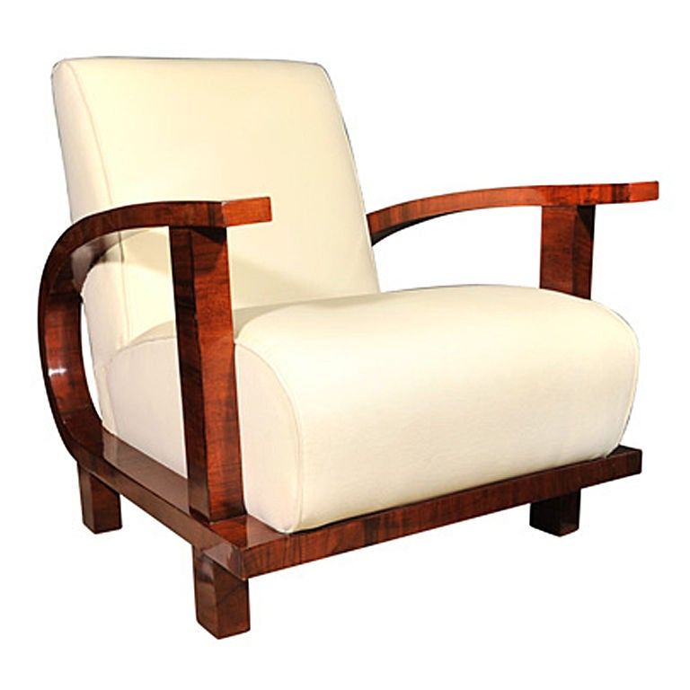 Single Upholstered Armchair On Curved Base German 1930