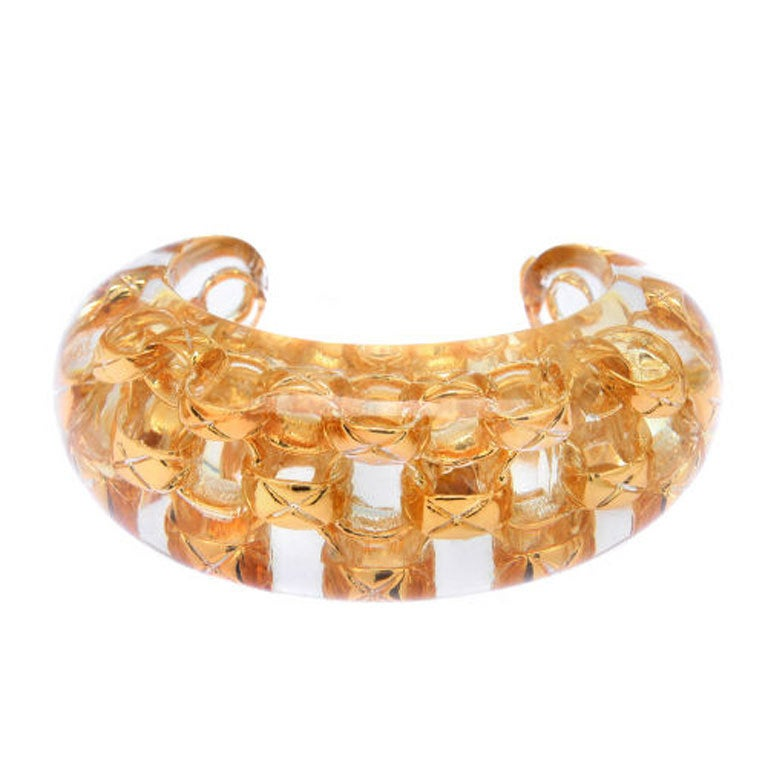 Chanel Chain In Lucite Cuff Bracelet At 1stdibs
