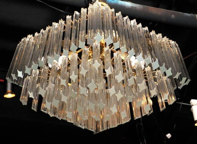 An Elegant Murano Glass Chandelier Comprised Of Four Concentric Diamond Shaped Tiers Clear