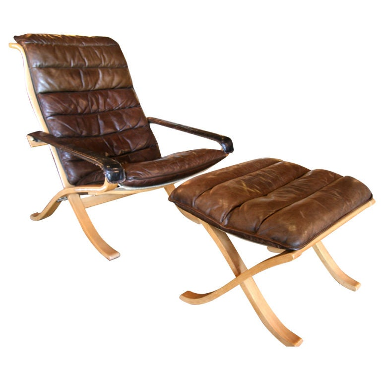 Scandinavian Easy Chairs And Ottoman By Ingmar Relling At