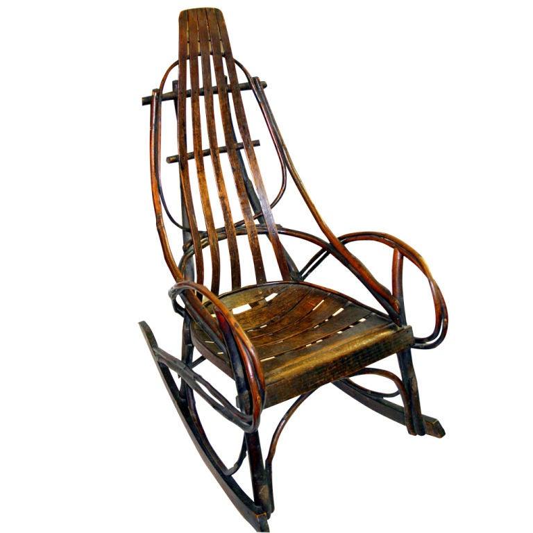 Antique Hickory Bent Wood Adirondack Rocking Chair At 1stdibs
