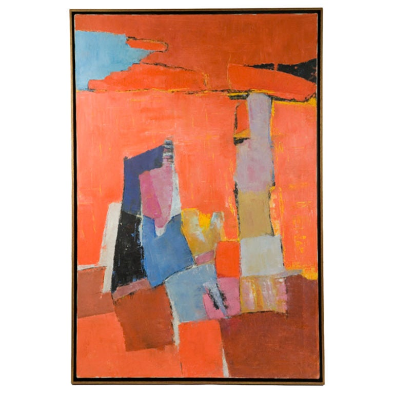 Mid Century Abstract Oil Painting At 1stdibs