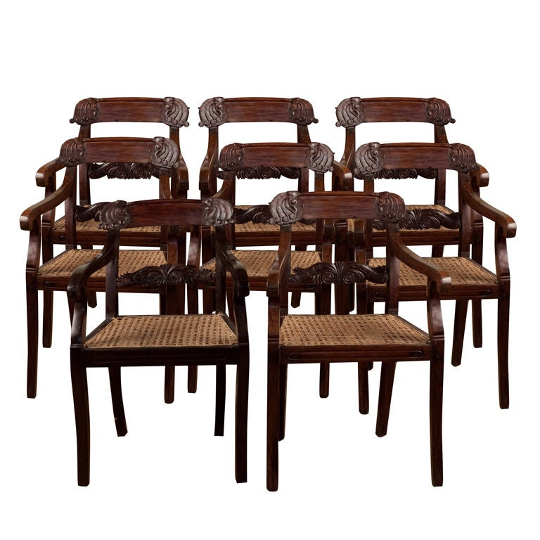Set Of Eight Anglo Indian Regency Style Chairs In Rosewood