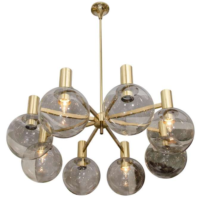 Hans Agne Jakobson Smoke Glass Globe And Brass Chandelier 1