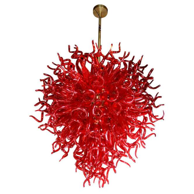 Medusa Fuoco Ruby Red Murano Glass Chandelier In The Style Of Dale Chihuly 1