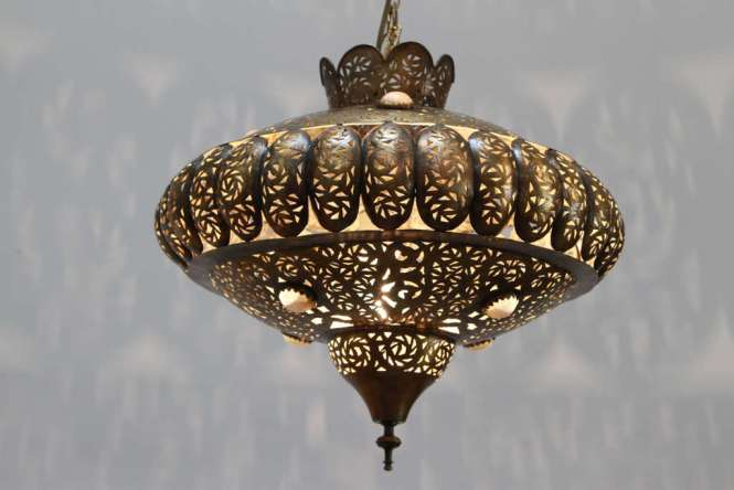 Pierced Brass Moroccan Pendants In The Style Of Alberto Pinto Moorish Design This Light