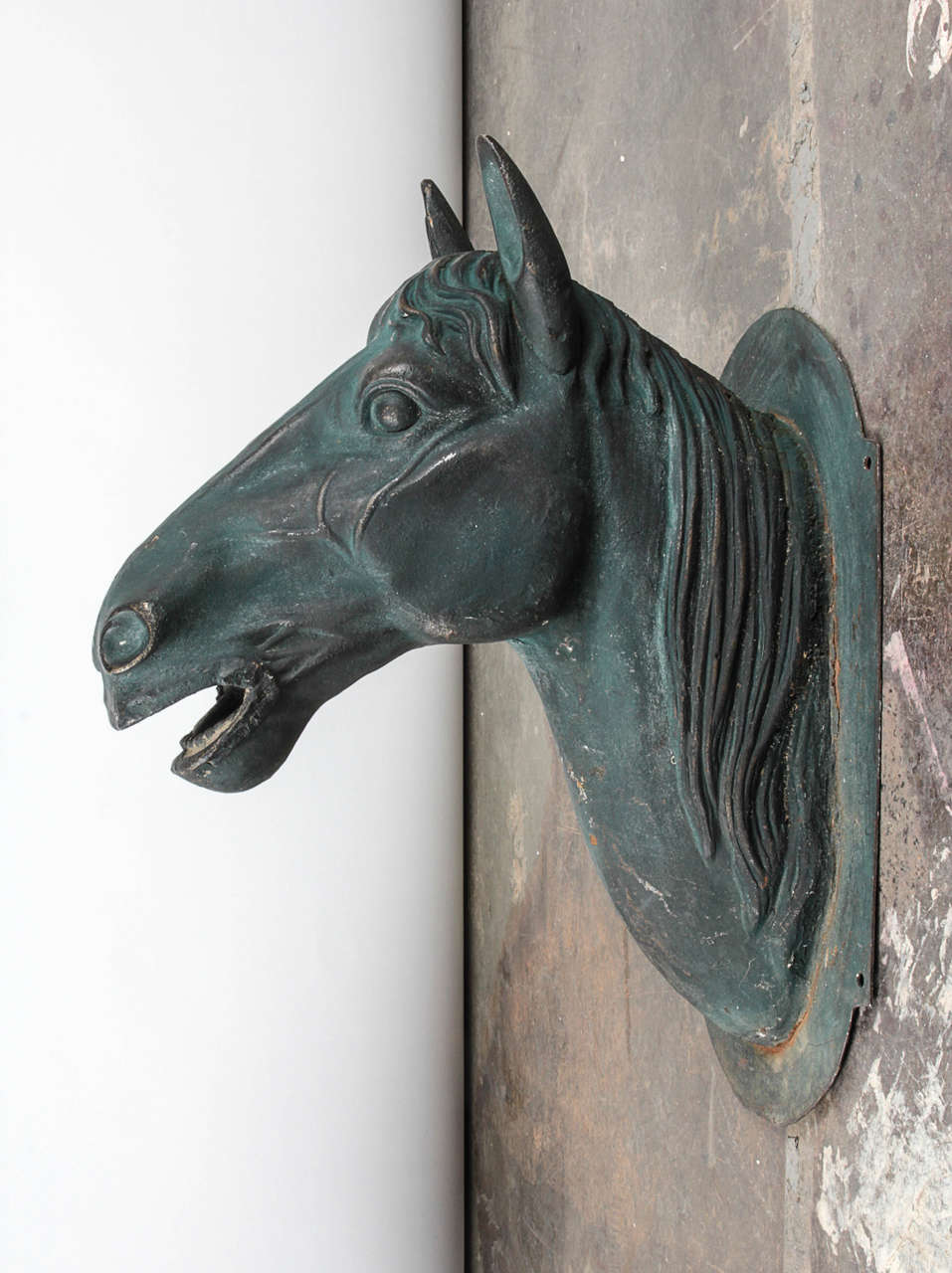 Mountable Patina Metal Horse Head Sculpture At 1stdibs
