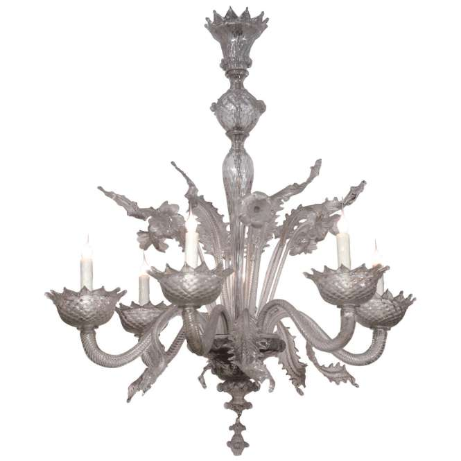 Large Vintage Mid Century Murano Chandelier For