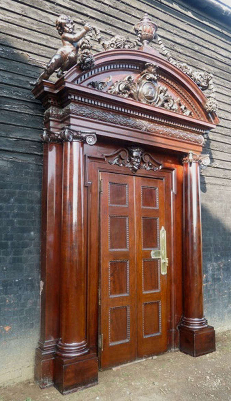 Antique Carved Mahogany Entrance Doorway For Sale At 1stdibs