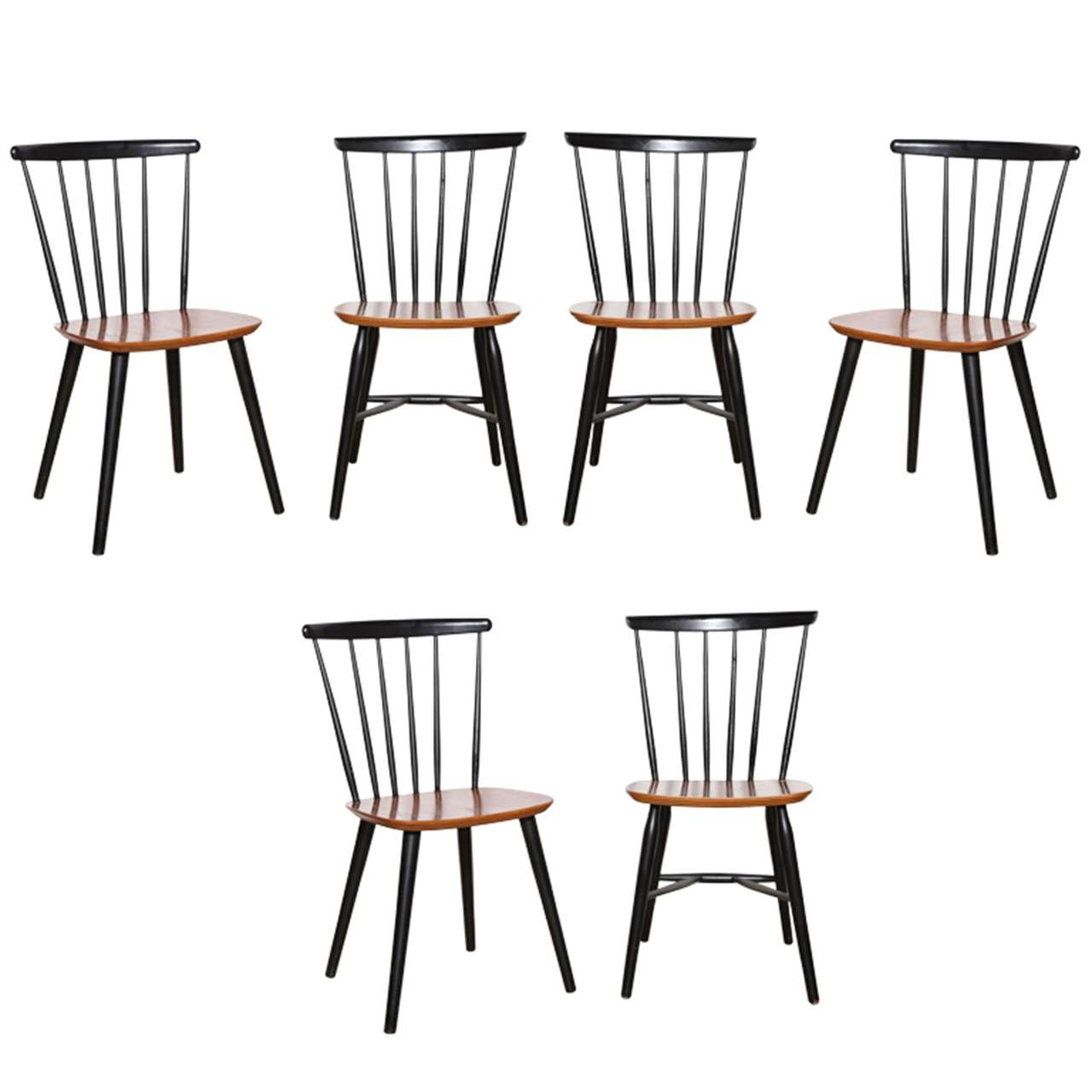 6 Farstrup Teak And Black Lacquer Chairs At 1stdibs