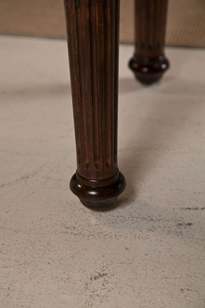 Mahogany Legged Bench Upholstered In Vintage French Grain