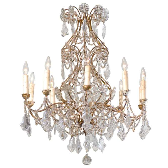Italian 1850s Rococo Style Ten Light Crystal Chandelier With Gilt Metal Ar 1