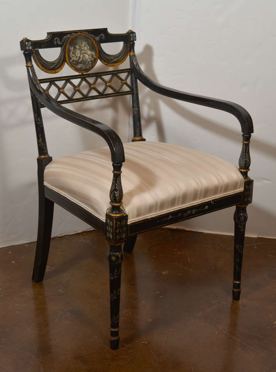 Set Of Important Regency Period Black Lacquered Chairs For