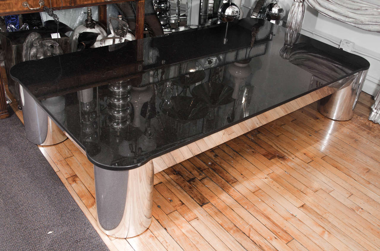 vintage black granite top coffee or cocktail table with tubular aluminum legs