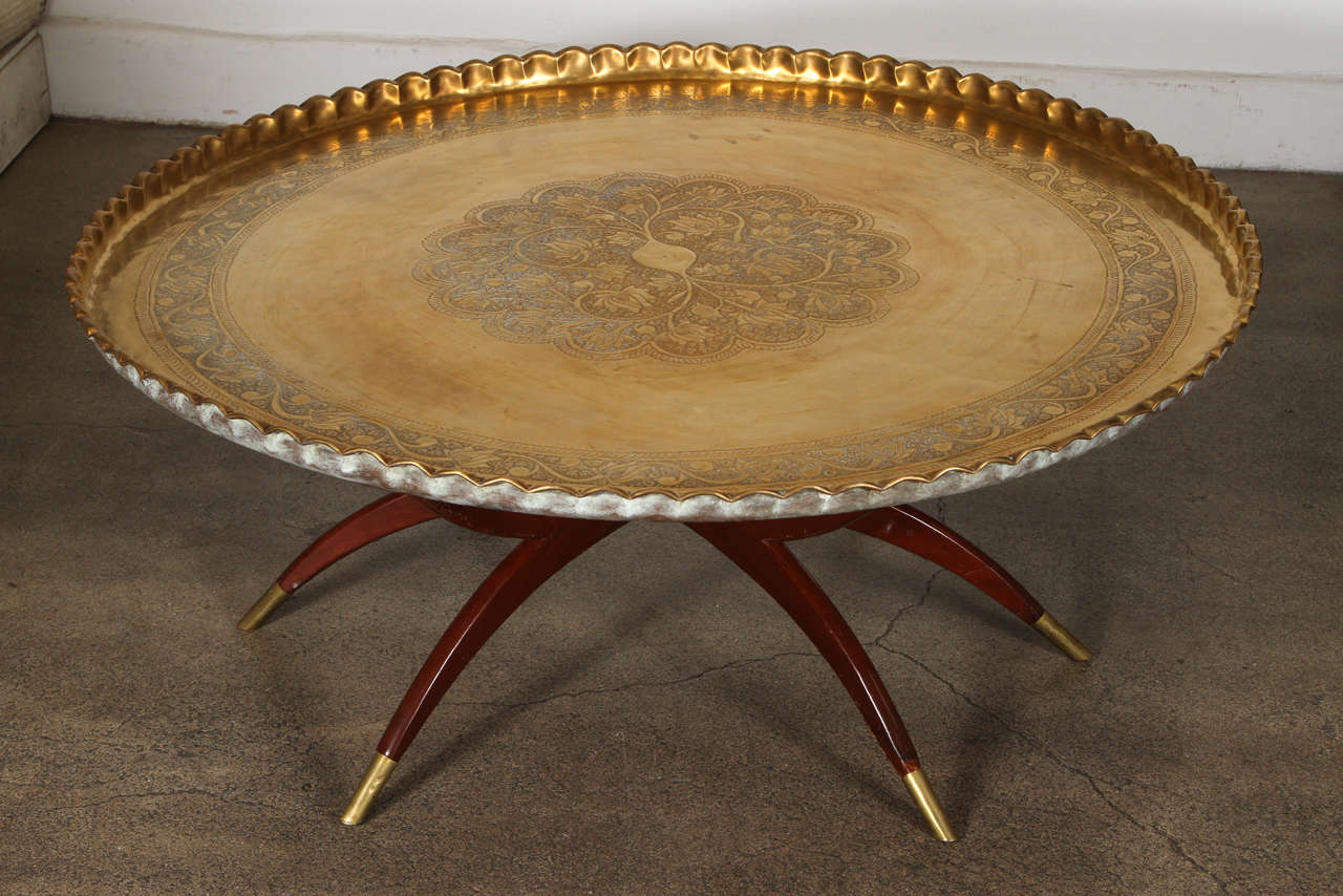 Large Round Brass Tray Table On Folding Stand 45 Diameter