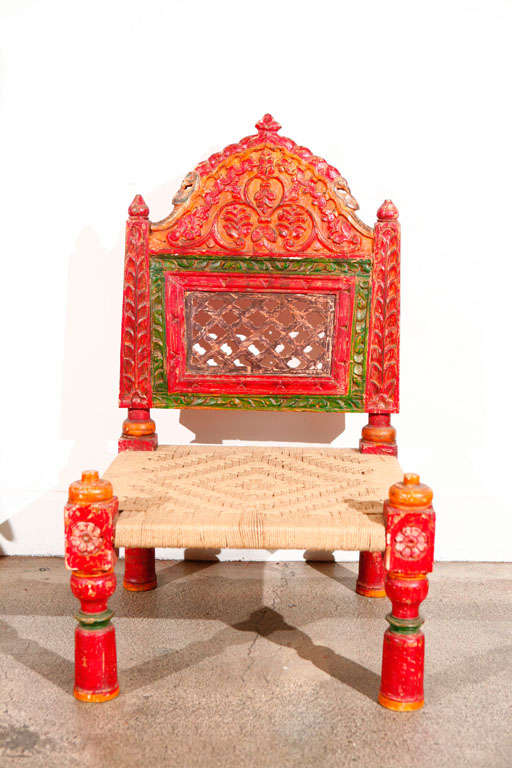 Pair Of Low Handcarved Rajasthani Chairs At 1stdibs
