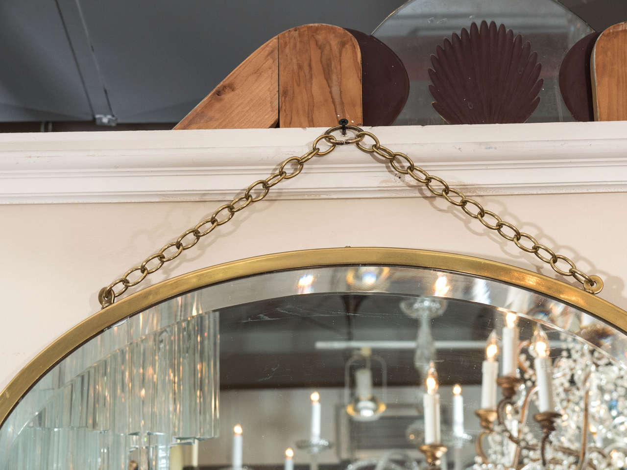 Midcentury Oval Brass Framed Beveled Glass Wall Mirror At