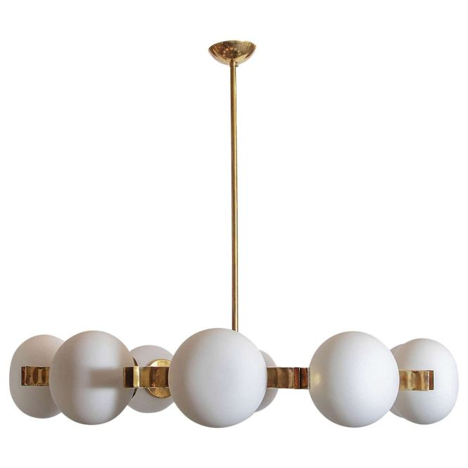 Brass And Frosted White Glass Chandelier In The Style Of Stilnovo For