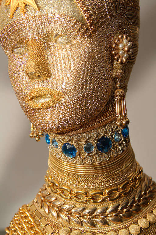 Gold Chain Decorated Mannequin Head At 1stdibs