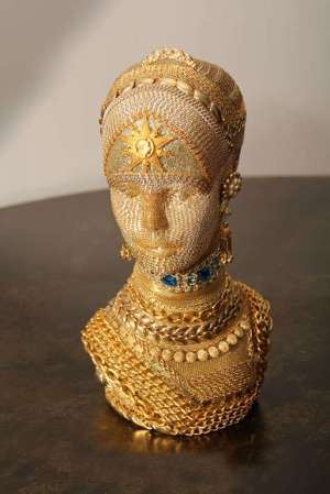 Gold-Chain Decorated Mannequin Head at 1stdibs