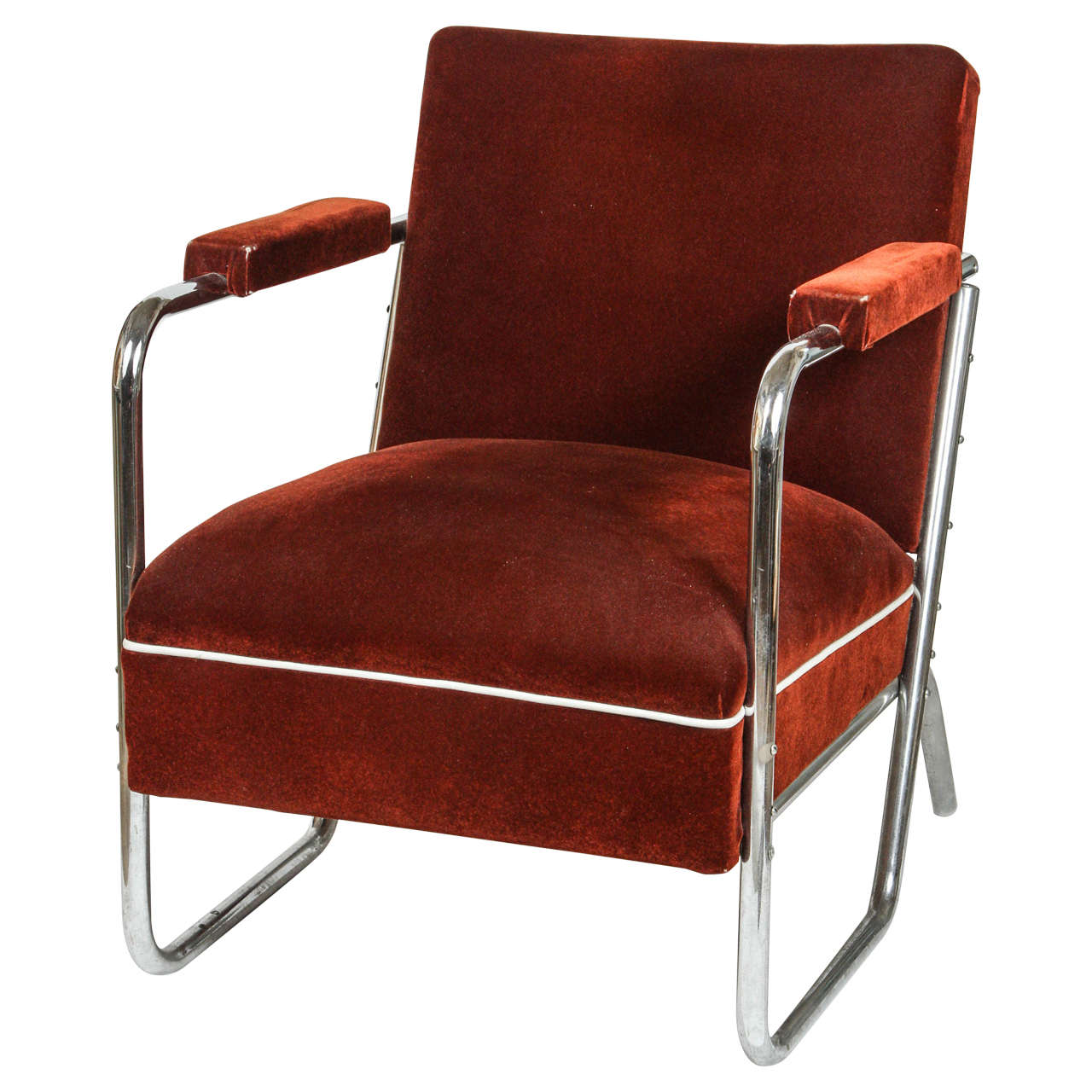 German Chrome Chair With Original Mohair Upholstery At 1stdibs
