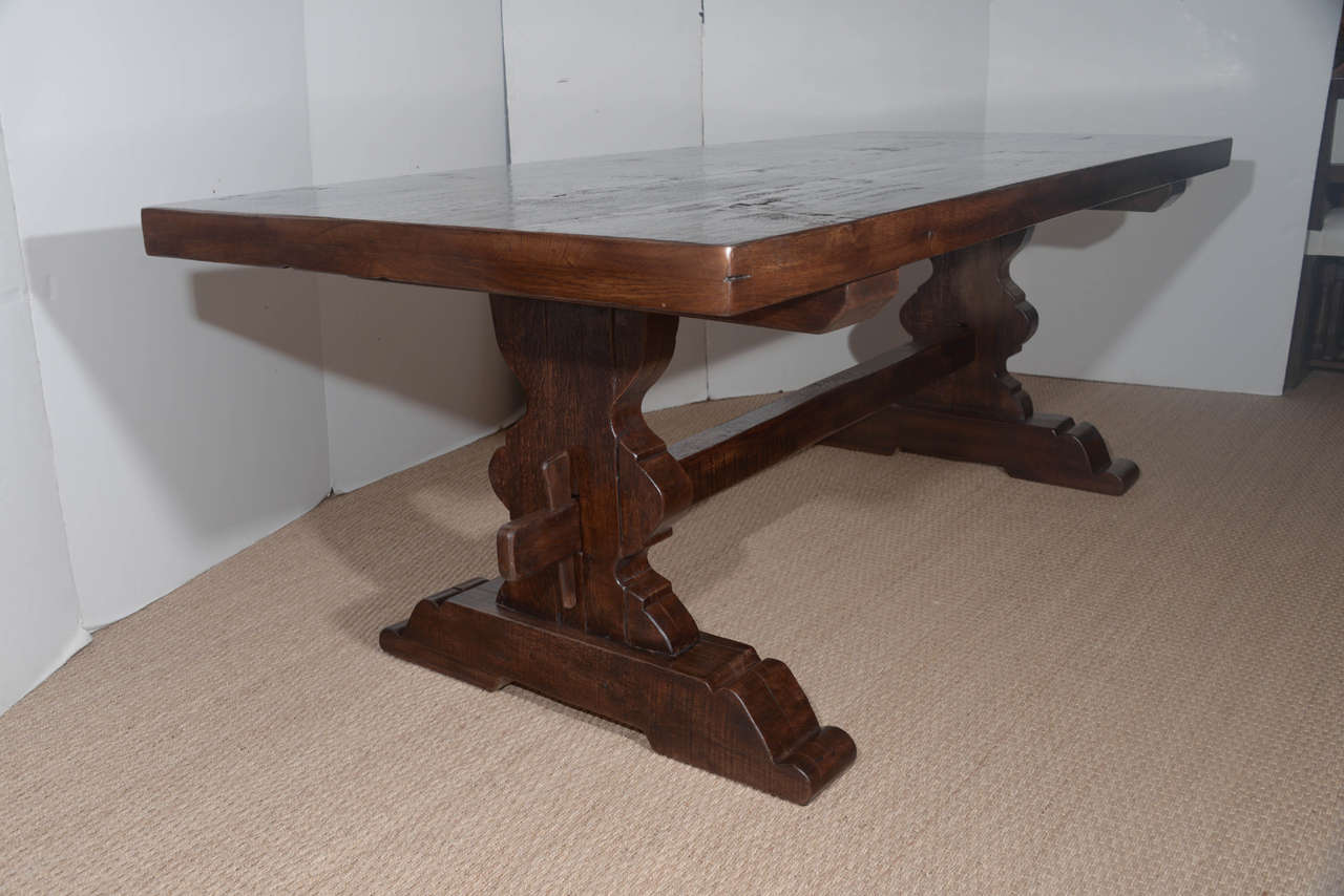 Antique Reclaimed French Oak Trestle Dining Table For Sale