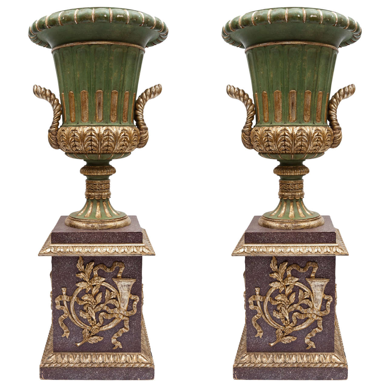 Early C20th Carved Wood Urns On Pedestals At 1stdibs