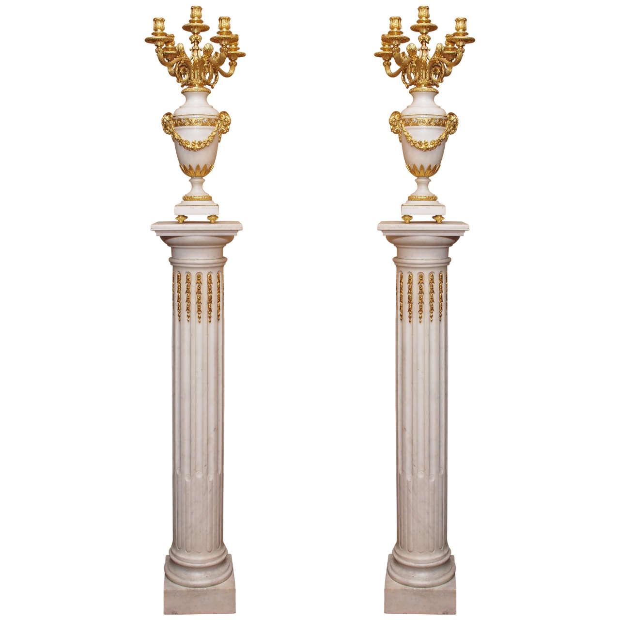Pair Of Antique Carrara Marble And Ormolu Pedestals And