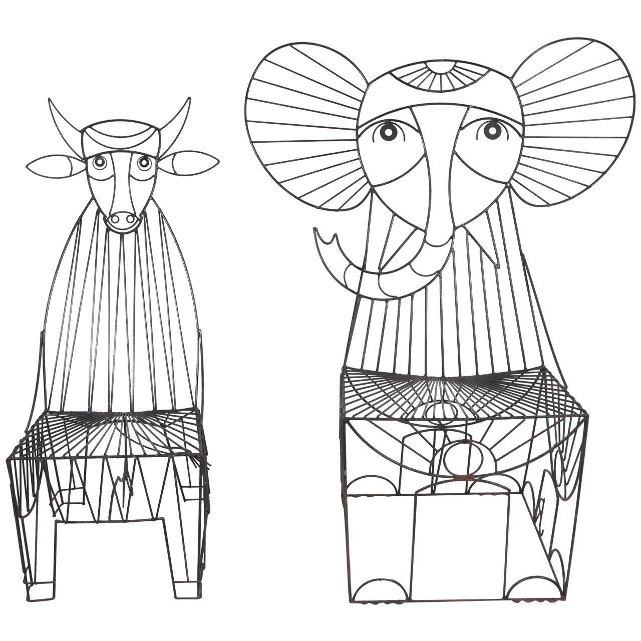 Rare John Risley Figural Cow And Elephant Chairs At 1stdibs