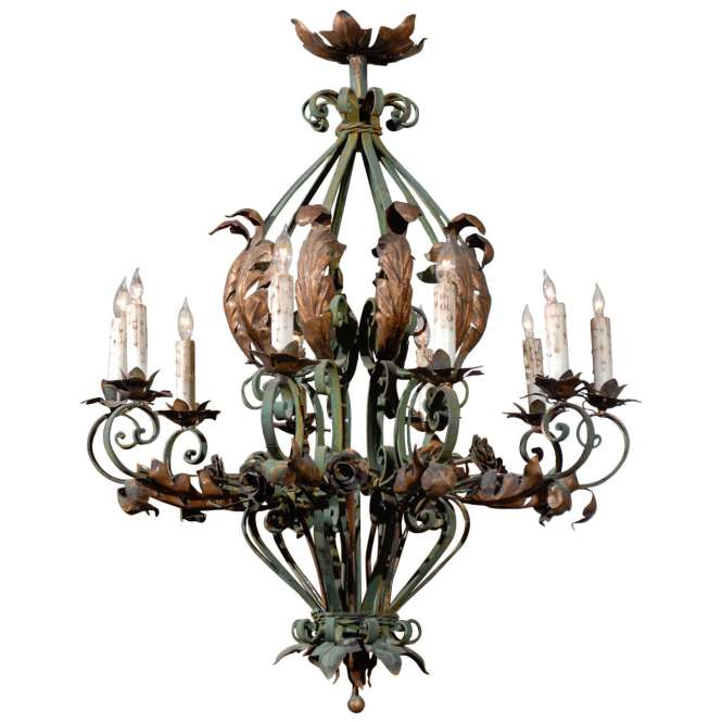 Large French Rococo Green Painted Iron And Gilt Tole Chandelier 1