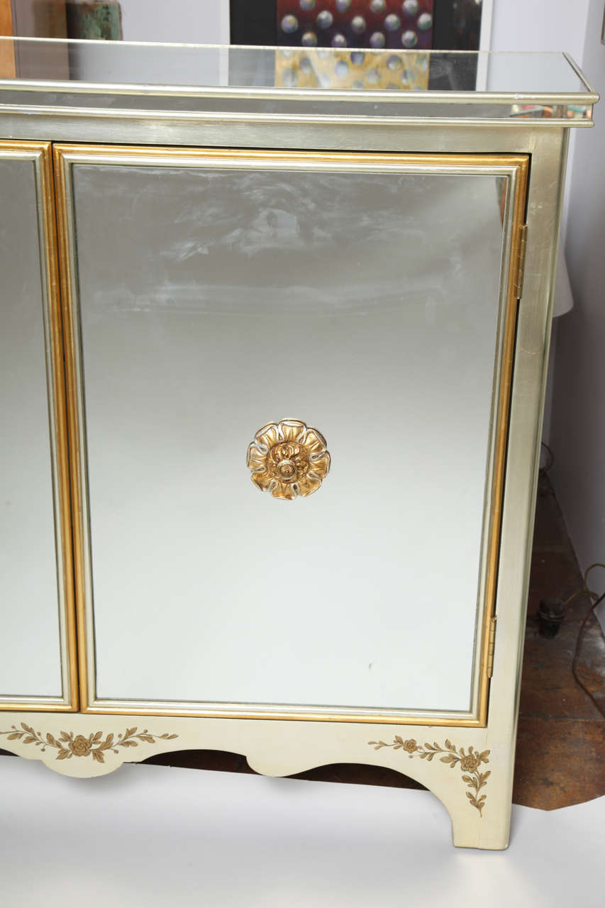 Mirrored Cabinet With Gold Wood Trim And Interior Drawers At 1stdibs