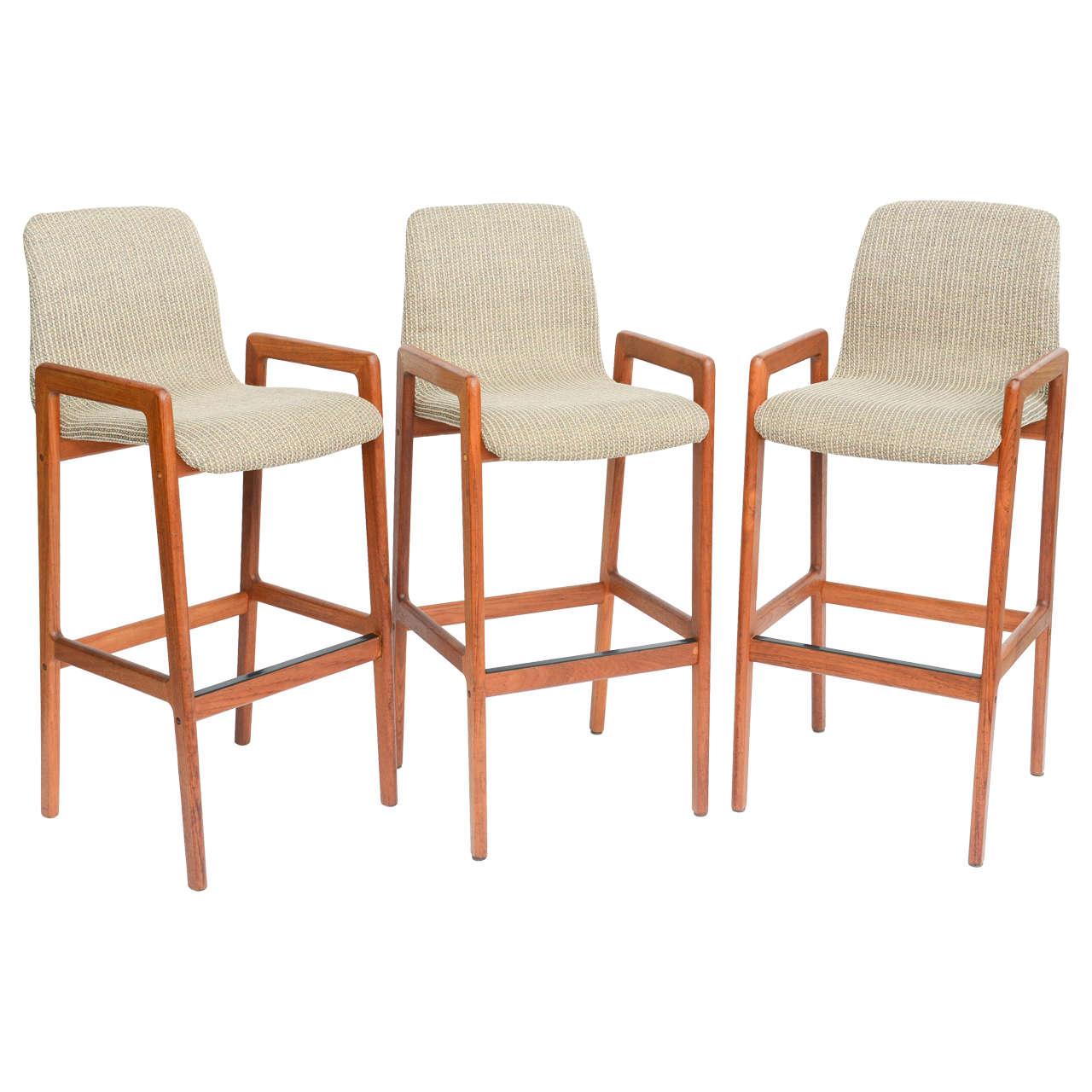 Danish Teak Sculpted Seat Barstools At 1stdibs