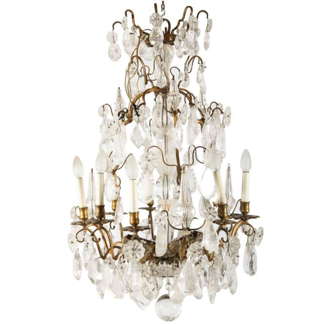 A Louis Xv Period Gilded Bronze Rock Crystal Chandelier For