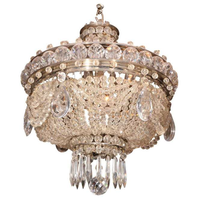 French Crystal Basket Chandelier For