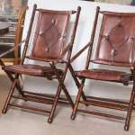Set Eighteen Leather Bamboo Style Folding Chairs In Fine Button Tufted Leather