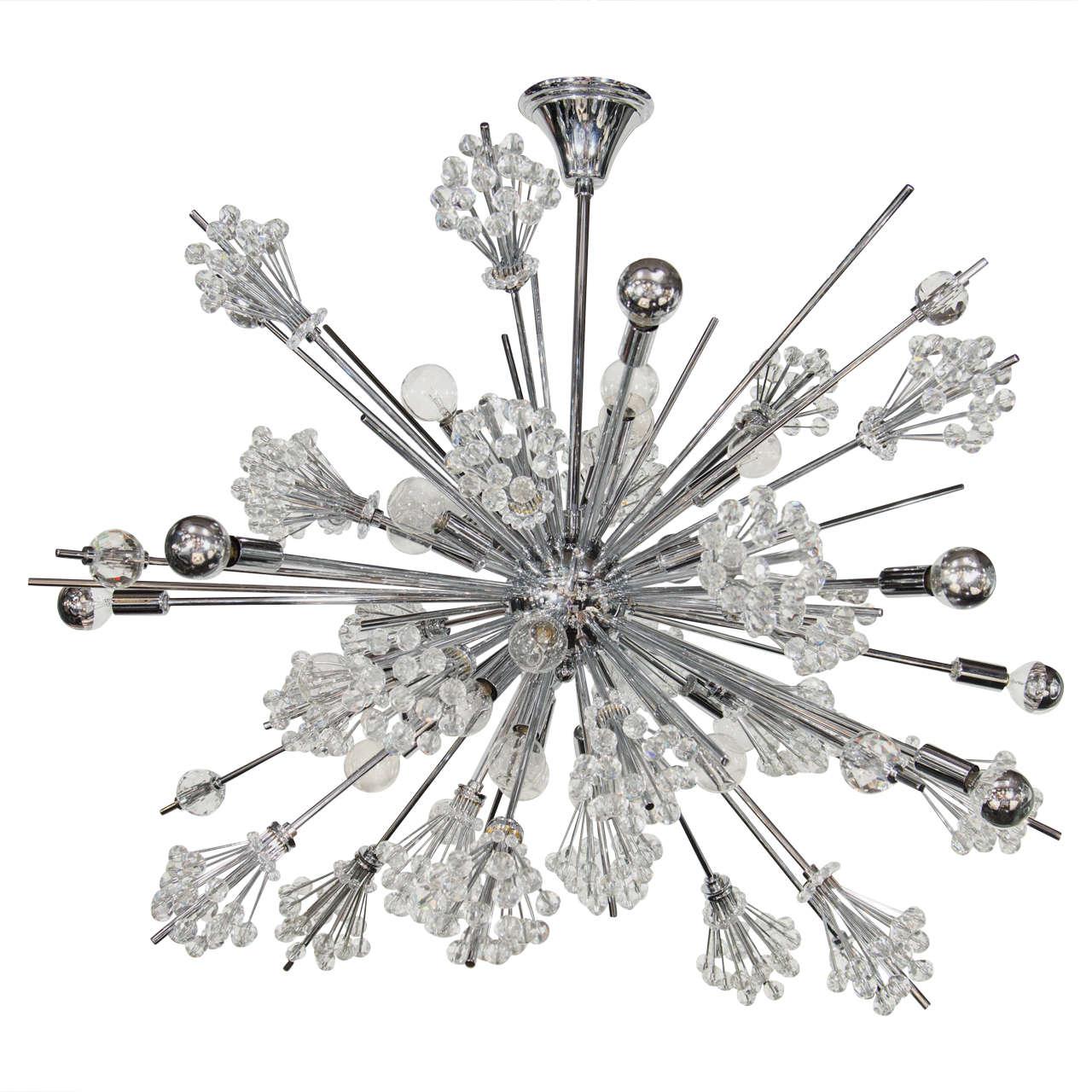 Exceptional Sputnik Chandelier By Lobmeyr Featuring Fine