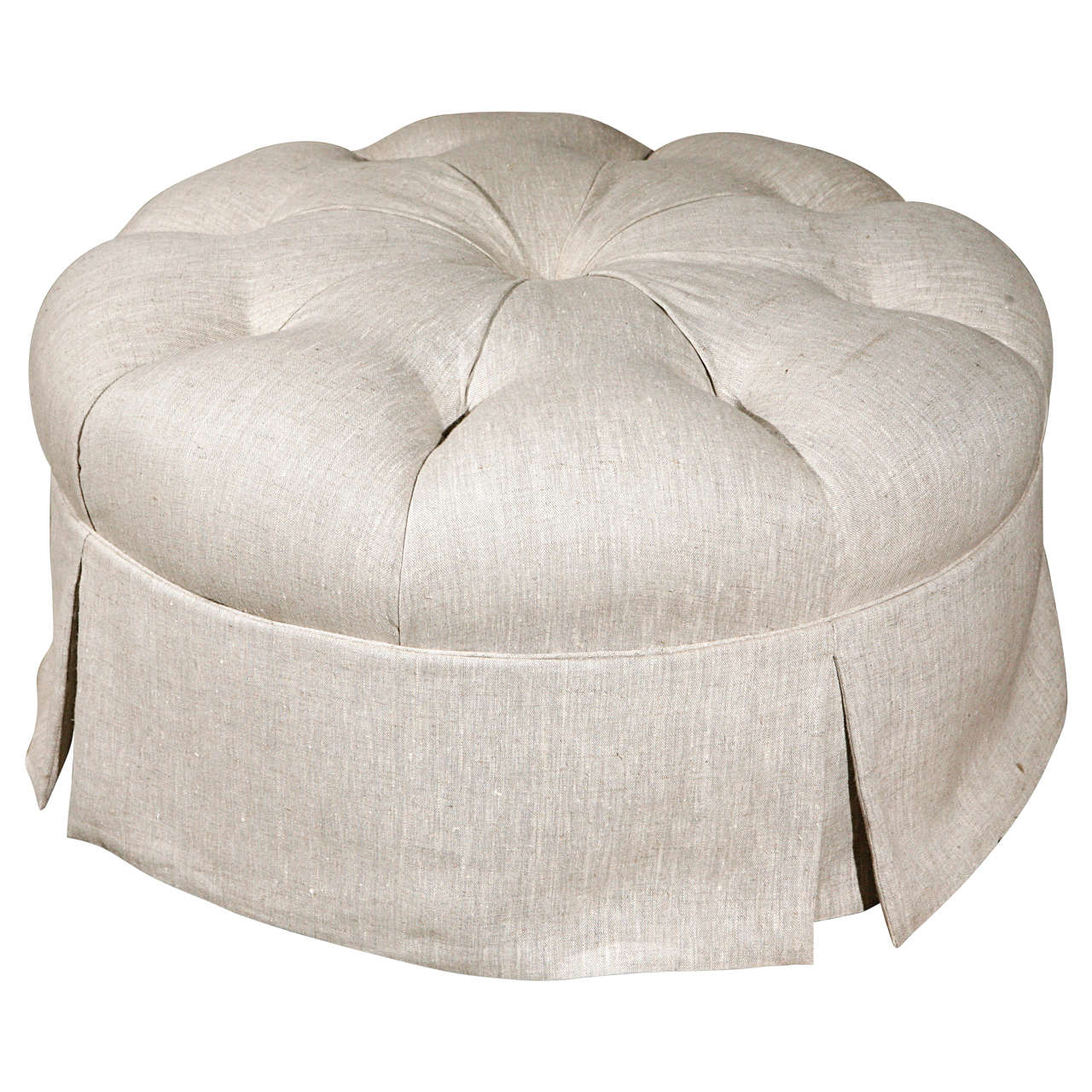 Round Tufted Linen Ottoman At 1stdibs