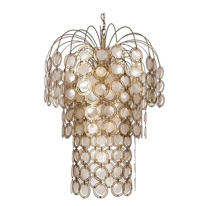Brass And Abalone Shell Chandelier For