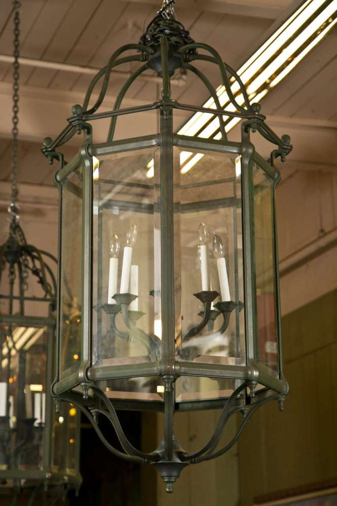 Vintage Beveled Glass Lantern Style Chandeliers 2