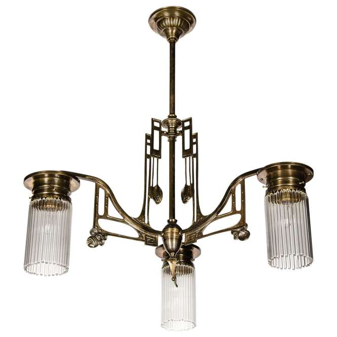 Art Deco Style Bronze Chandelier In The Manner Of Josef Hoffman 1