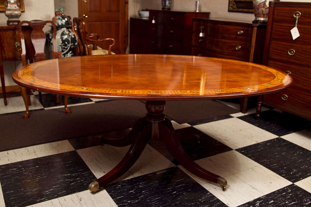 custom english dining table with hand painted band for on hand painted dining room tables id=62249
