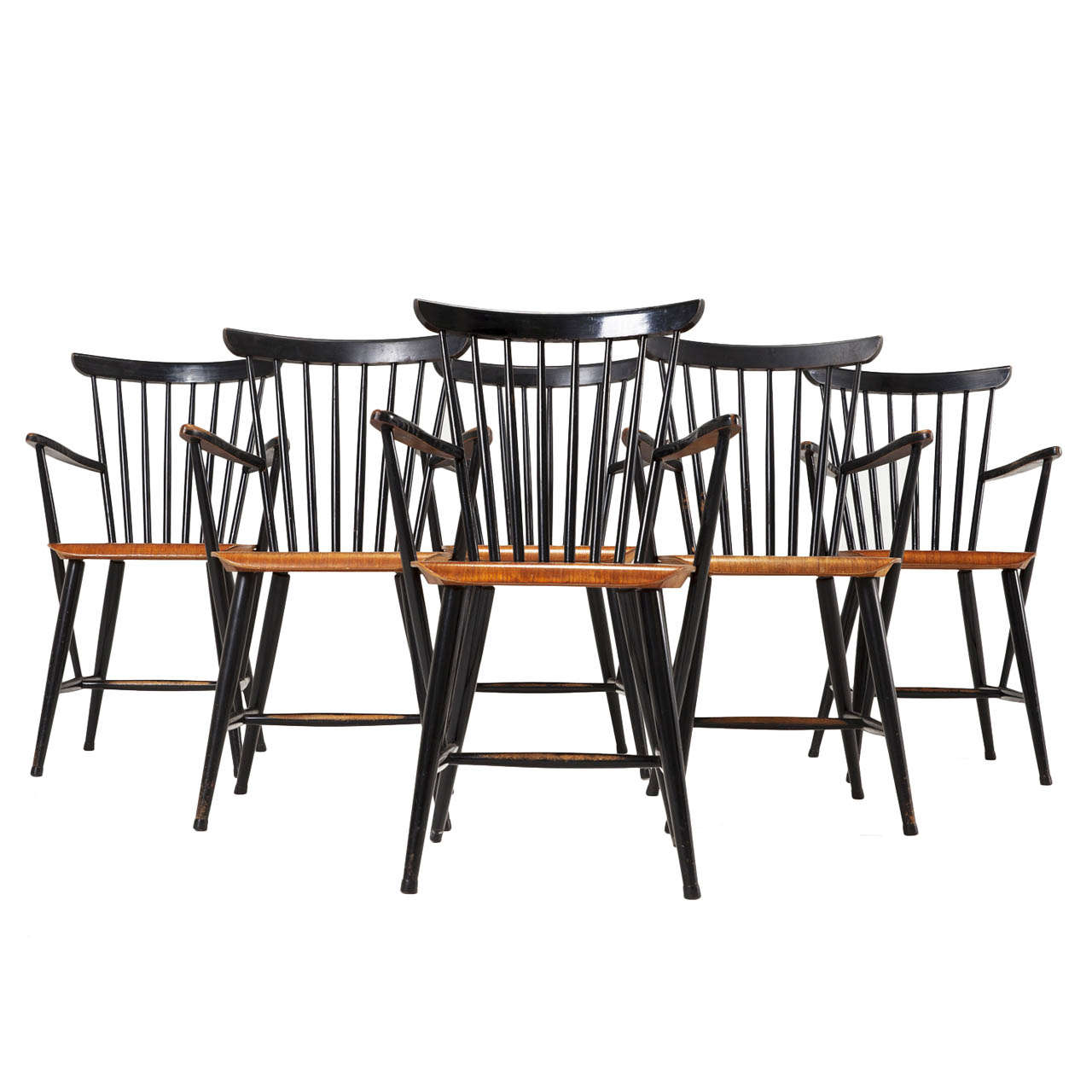 6 Armchairs In Black Coated Beech And Teak At 1stdibs