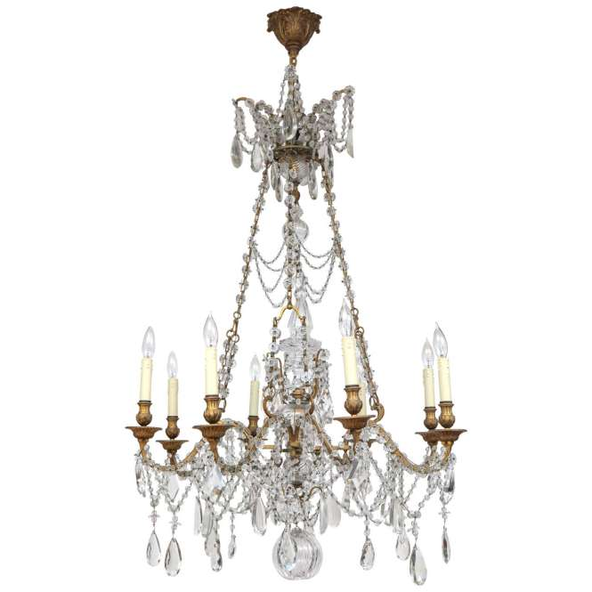 19th Century French Doré Bronze And Crystal Chandelier 1