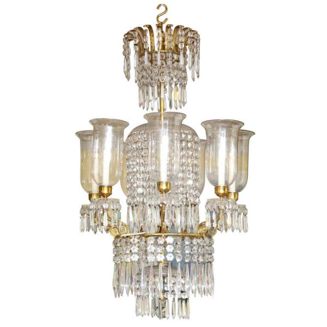 Regency Antique Ormolu And Cut Glass Chandelier English Circa 1820 For